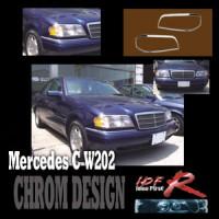 Chromové rámečky předních světlometů Mercedes C W202 rok výroby 94-00